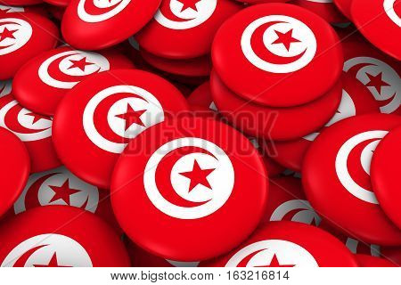 Tunisia Badges Background - Pile Of Tunisian Flag Buttons 3D Illustration
