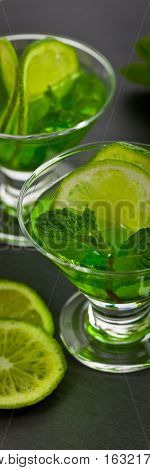 Lime and mint, Green drink for St. Patrick's Day. Selective focus.