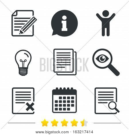 File document icons. Search or find symbol. Edit content with pencil sign. Remove or delete file. Information, light bulb and calendar icons. Investigate magnifier. Vector