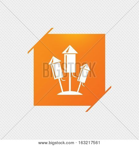 Fireworks rockets sign icon. Explosive pyrotechnic device symbol. Orange square label on pattern. Vector
