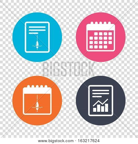 Report document, calendar icons. Fishing sign icon. Float bobber symbol. Fishing tackle. Transparent background. Vector