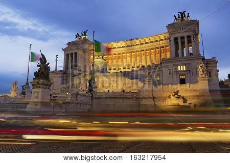 Altare della Patria at night National Monument to Victor Emmanuel II the first king of a unified Italy located in Rome Italy