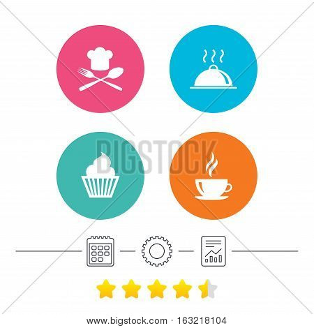 Food and drink icons. Muffin cupcake symbol. Fork and spoon with Chef hat sign. Hot coffee cup. Food platter serving. Calendar, cogwheel and report linear icons. Star vote ranking. Vector