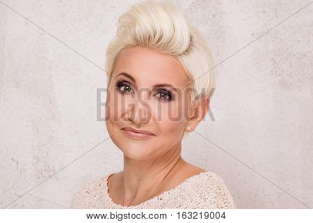 Elegant Blonde Businesswoman Posing.