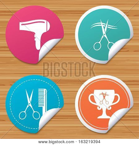Round stickers or website banners. Hairdresser icons. Scissors cut hair symbol. Comb hair with hairdryer symbol. Barbershop winner award cup. Circle badges with bended corner. Vector