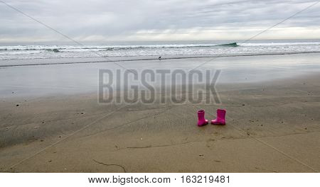 Pink Wellies Left At La Jolla Bay -2