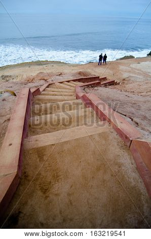 Steps Down To Surf Line In Point Loma Tidepools Park