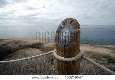 Year Rings On A Column Of Protecting Fence In Point Loma Tidepools Park