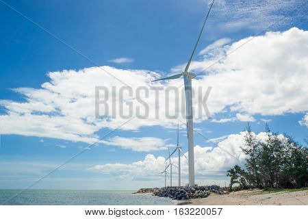 Wind turbine in the water park for onshore energy