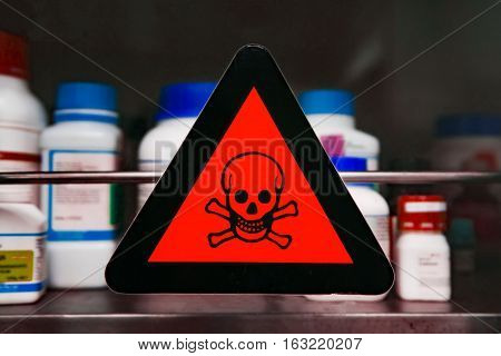Focus at the label toxic Chemical storage cabinets.