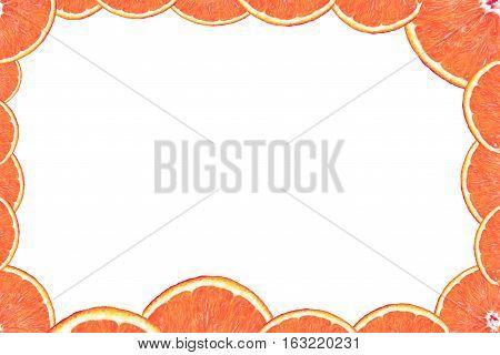 Orange slice frame on the white background