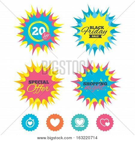 Shopping night, black friday stickers. Heart ribbon icon. Timer stopwatch symbol. Love and Heartbeat palpitation signs. Special offer. Vector