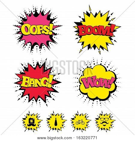 Comic Boom, Wow, Oops sound effects. Hipster photo camera. Mustache with beard icon. Glasses and tie symbols. Bicycle family vehicle sign. Speech bubbles in pop art. Vector