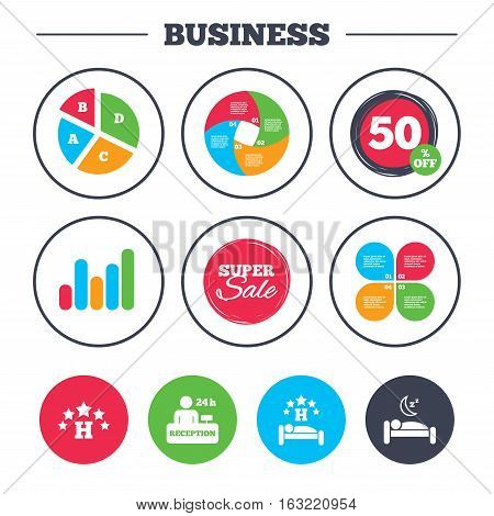 Business pie chart. Growth graph. Five stars hotel icons. Travel rest place symbols. Human sleep in bed sign. Hotel 24 hours registration or reception. Super sale and discount buttons. Vector