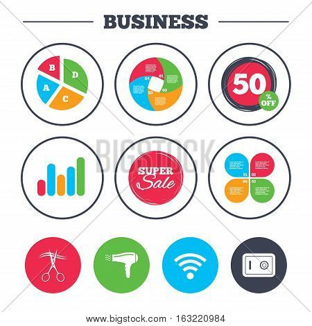 Business pie chart. Growth graph. Hotel services icons. Wi-fi, Hairdryer and deposit lock in room signs. Wireless Network. Hairdresser or barbershop symbol. Super sale and discount buttons. Vector
