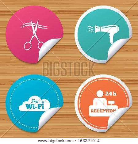 Round stickers or website banners. Hotel services icons. Wi-fi, Hairdryer in room signs. Wireless Network. Hairdresser or barbershop symbol. Reception registration table. Vector
