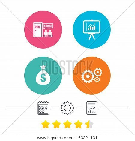 Human resources icons. Presentation board with charts signs. Money bag and gear symbols. Man at the door. Calendar, cogwheel and report linear icons. Star vote ranking. Vector