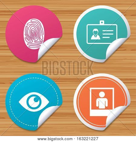 Round stickers or website banners. Identity ID card badge icons. Eye and fingerprint symbols. Authentication signs. Photo frame with human person. Circle badges with bended corner. Vector