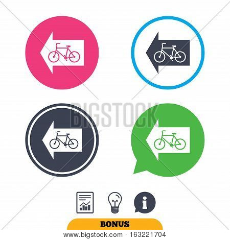 Bicycle path trail sign icon. Cycle path. Left arrow symbol. Report document, information sign and light bulb icons. Vector