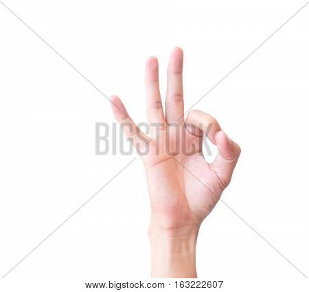 Young man hand OK sign with white background