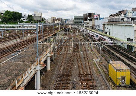 Ueno Station With Multystoried Railway Tracks