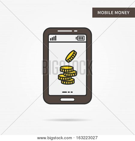 Linear mobile money. Flat phone gold money coin app. Mobile web personal finance technology symbol. Creative mobile dollar coin graphic design. Vector yellow money software illustration.
