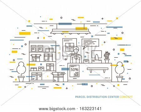 Linear parcel pick-up online shopping package claim window package pick up flat minimal outline vector illustration. Graphic design package claim area parcel pick up center. Parcel service creative concept. Linear package service concept with colorful ele
