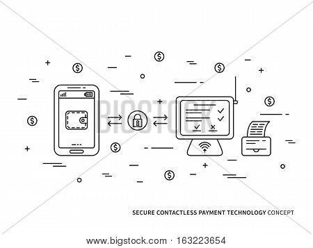 Contactless payment method vector linear illustration. Smartphone contactless payment technology creative concept. Secure NFC payment app for store wallet transfer cashier counter graphic design.