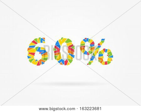 Discount 60 percent colorful vector illustration on grey background. 60 percent off discount creative promotion concept. Special offer isolated element for banner coupon label retail marketing.