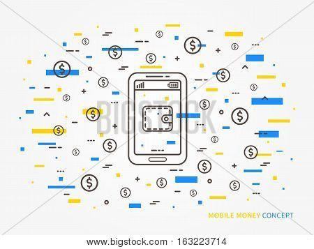 Mobile money wallet with coins vector linear illustration. Mobile phone cash money technology creative concept. Mobile personal finance wallet transfer graphic design.