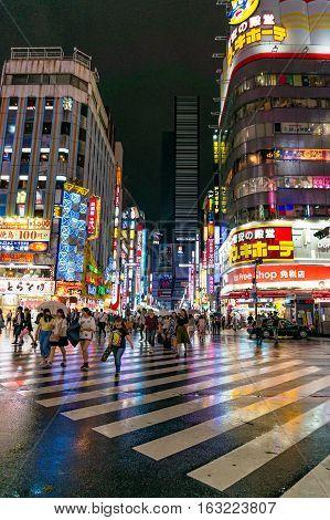 Pedestrian Crossing At Kabukicho Ichibangai In Shinjuku