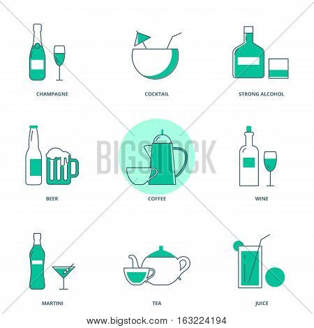 Drinks vector icon set, modern line style