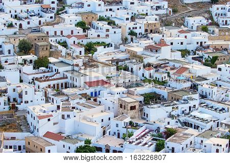 Lindos view from the top of the white houses, Greece, the island of Rhodes,