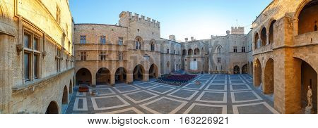RHODES, GREECE - SEPTEMBER 23 2016: The Palace of the Grand Master the Knights Rhodes is a medieval castle in the city .
