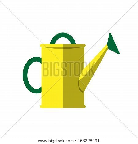 Yellow watering can isolated on white. Vector illustration steel metallic single horticulture garden equipment. Irrigation agriculture metal cultivate tool.