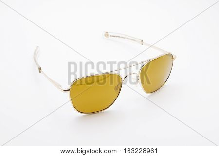Yellow Brown Sunglasses Isolated on White Background