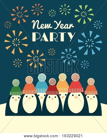 Vector retro styled illustration of a group of penguins in knit hats with pompoms. Fireworks on the background and text