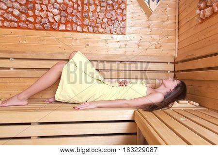 Beautiful Girl In A Sauna.