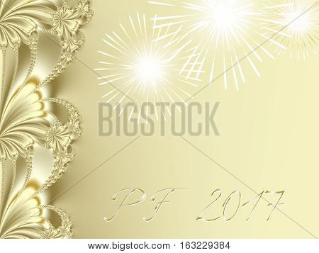 Gold shiny fractal based PF 2017 good luck wishing card for New Year with ornate ribbon stripe on the left edge several shiny fireworks and delicate gold text with 3d effect. Romantic and festive.