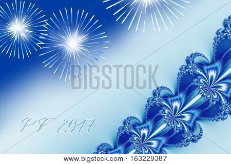 Blue shiny fractal based PF 2017 good luck wishing card for New Year with ornate ribbon stripe over the right corner several shiny fireworks and delicate white and blue text. Romantic and festive.