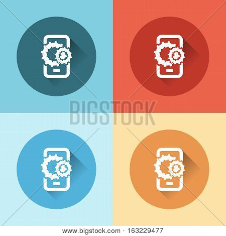 color phone with gears flat icons flat design