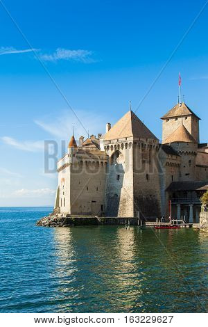 View of Chillon Castle in Montreux Switzerland