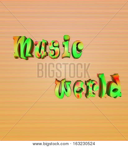 the music world letters lines green the words 3D graphics