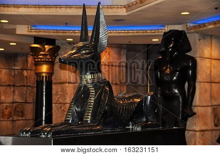 LAS VEGAS NEVADA - JANUARY 2016: Anubis dog statue at the entrance of the Luxor hotel and casino