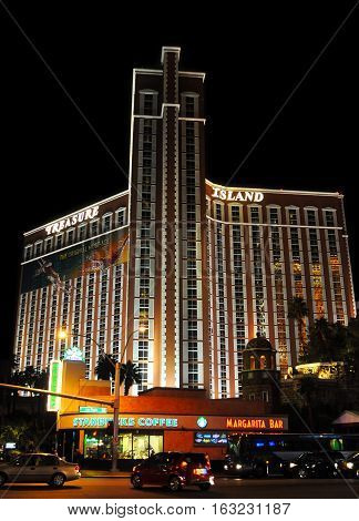 LAS VEGAS NEVADA - JANUARY 2016: Treasure Island Hotel and casino that hosts