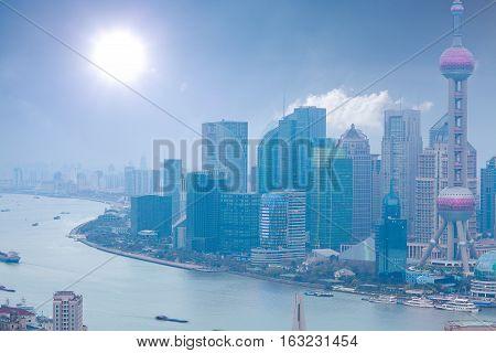 Aerial Photography At Shanghai Bund Skyline