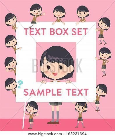 School Girl Brown Blazer Text Box