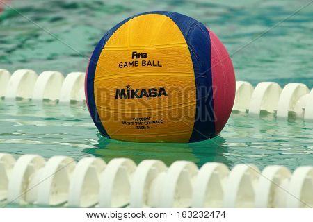 RIO DE JANEIRO, BRAZIL - AUGUST 10, 2016: Rio 2016 Mikasa water polo game ball at the Maria Lenk Aquatic Center in Rio de Janeiro
