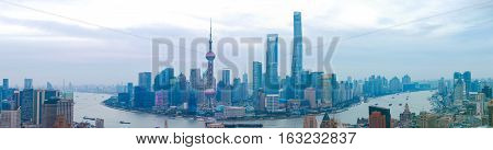 Aerial Photography At Shanghai Bund Skyline Of Panorama