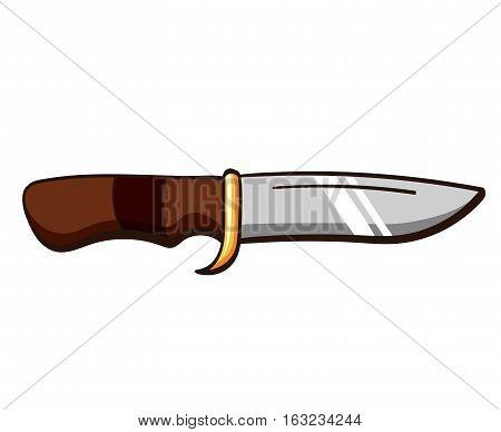 Cartoon hunting knife isolated on white background. Vector illustration